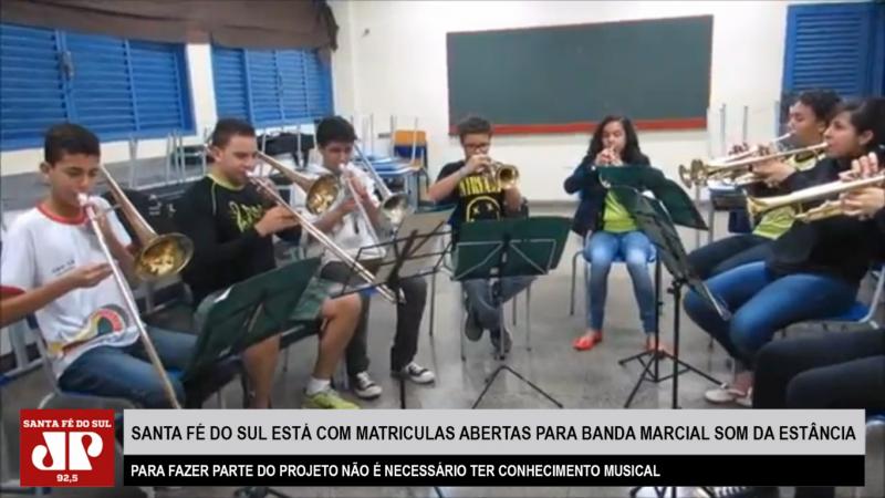 Santa Fé do Sul está com matriculas abertas para Banda Marcial Som da Estância. Para fazer parte do projeto não é necessário ter conhecimento musical